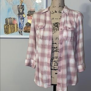 Ana pink and white cotton flannel button down